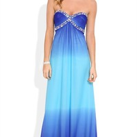 Ombre Long Homecoming Dress with Stone Sweetheart Bodice