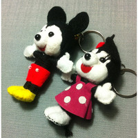 Mickey and Minnie mouse 2string dolls couple valentines gift Voodoo handmade Keyring film Key Ring Key Chain handmade funny Bag Couple gift