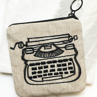 Embroidered Typewriter Pouch