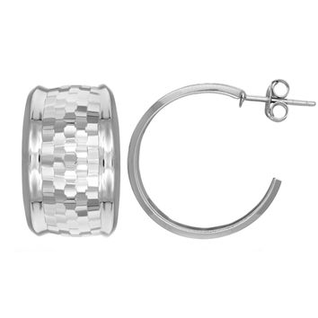 Sterling Silver Rhodium Finish Shiny Diamond Cut Finish C Type Earrings, Diameter 30mm