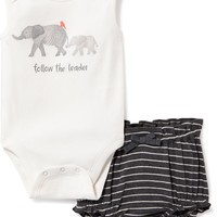 Elephant-Graphic Bodysuit & Bloomer Set for Baby | Old Navy