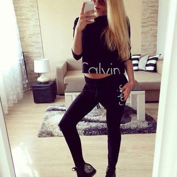 Spring Autumn 2016 Women Sweatshirt 2 Piece Sets Clothing Set Top Full sleeve Set Casual Casual Suits Women Tracksuit calvin
