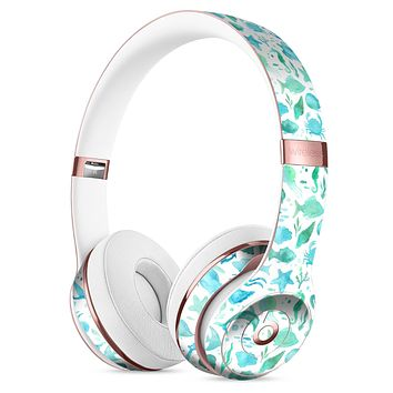 Vivid Blue Watercolor Sea Creatures V2 Full-Body Skin Kit for the Beats by Dre Solo 3 Wireless Headphones