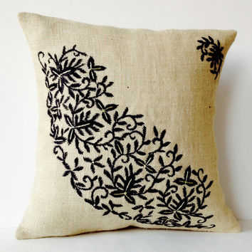 Ivory Burlap Throw Pillows- Embroidered Pillow Covers- Black flower leaves pillow Case-Modern Pillow -Floral Cushion -Gift -Bedding -16x16