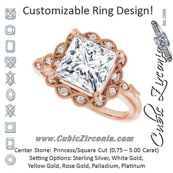 Cubic Zirconia Engagement Ring- The Makayla Belle (Customizable 3-stone Design with Princess/Square Cut Center and Halo Enhancement)