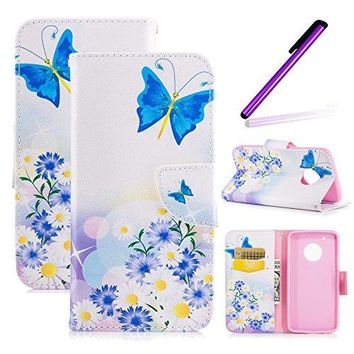 Moto G5 Plus Case, LEECOCO Fancy Paint Design Wallet Case with Card Slots Shocoproof Colorful Floral PU Leather Flip Stand Magnetic Case Cover for Motorola Moto G5 Plus (2017),Blue Butterflies & Daisy