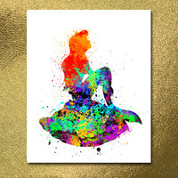 The Little Mermaid Poster, Watercolor Print, Digital Poster, Nursery Disney, Little Mermaid Print, Nursery Poster, Nursery Print