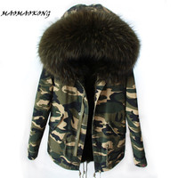 MAOMAOKONG women  camo parkas large raccoon fur collar hooded coat outwear 2 in 1 detachable lining winter jacket brand style