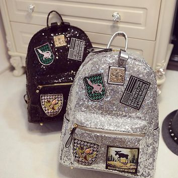 Female star with a backpack bags 2017 spring backpack bag bag Korean tide Sequin sequins