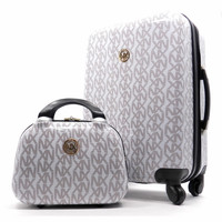 WHITE NX TWO PIECE SPINNER WHEEL ROLLING LUGGAGE SET