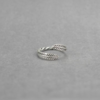 S925 Thai silver restoring ancient ways twist feather opening ring,a simple perfect gift !