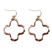 4 Colors 2018 Hot New Brand Designer Inspired Gold Shiny Cutout Clover Flower Statement Earrings Trendy Jewelry Gift For Women