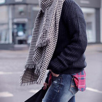 Scarf Houndstooth Black and White Fringe Scarves Fall Winter Fashion