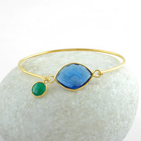 Blue Sapphire Quartz Marquise 15x20mm With Green Onyx Charm Round 8x8mm Micron Gold Plated 925 Sterling Silver Bangle - Gift -B2003