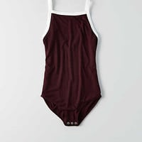 AEO Soft & Sexy Ribbed Hi-Neck Bodysuit , Raisin Red