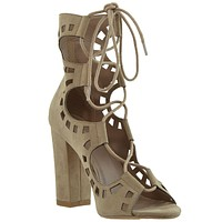 Womens Ankle Boots Lace Up Ghillie High Heel Shoes Taupe