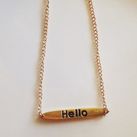 Gold bar hello necklace / Long gold necklace / Gold statemnet necklace / Gold minimalist necklace