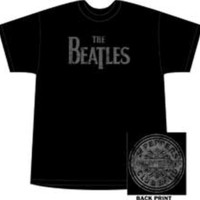 Beatles Sgt. Pepper Logo on Back Black Tee Shirt Sizes Large and 2XL
