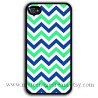 iPhone 4 Case, iphone 4s case, mint green & navy blue chevron iPhone black Hard Case for iphone 4 4s
