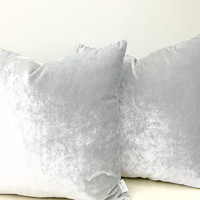 A Pair of Silver Grey Velvet Pillow Covers, Grey Pillow, Throw Pillows, Grey Velvet Cushion, Decorative Cushions, Silver Grey Pillow Covers