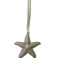 Starfish Charm Necklace - Starfish Charm Statement Necklace - Beach Jewelry - Silver Jewelry