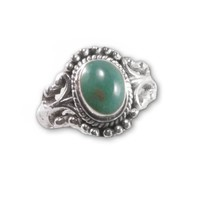 Turquoise Butterfly Ring Scroll and Bead Antique Design Artisan Made Fair Trade