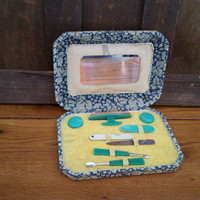 Vintage Lady's Green Celluloid Manicure Set