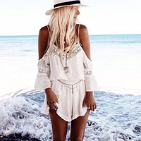 Feitong Women Summer Style White Lace Crochet Straps Halter Hollow Playsuits Beach bodycon Jumpsuits Romper overalls For Women