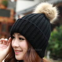 New Women's Knit Cap Beanie Hat With Fur Winter Slouch Elastic CFC = 1932590724