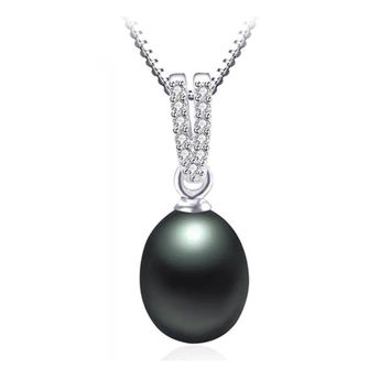 CZ Accented Tahitian Black Genuine Freshwater Pearl Drop Necklace