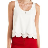 Beaded & Scalloped Swing Tank Top by Charlotte Russe - Ivory