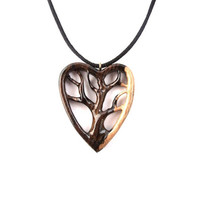 Wooden Heart Pendant Necklace, Tree of Life Necklace, Tree Pendant, Wood Jewelry, Tree of Life Necklace, Hand Carved Pendant, Wood Pendant