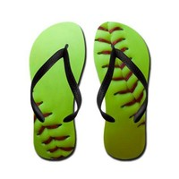 Optic Yellow Fastpitch Softball Flip Flops on CafePress.com