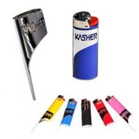 Kasher - Silver Pipe Poker Sleeve with Bic Lighter - Cleaners - Brushes - Smoking Accessories - Grasscity.com