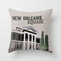 new Orleans square.. haunted mansion Throw Pillow by Studiomarshallarts