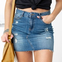 Five Pocket Distressed Mini Skirt