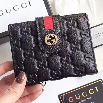 GUCCI Fashion new more letter leather wallet purse handbag women Black