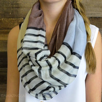 Lands Ending Striped Color Block Infinity Scarf Brown