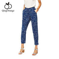 European And American Fashion Fresh Slim Double Pocket Fan Haren Pants Nine Printed Chiffon Casual Pants