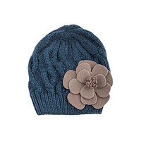 Bohemian Love Large Felt Flower Accent Knit Warm Beanie Hat for Kids