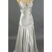 30's Old Hollywood Glamour Silver Satin Evening Gown-Prom Dress-Wedding Dress