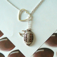 Football Necklace with Rhinestones and Heart and Number, handmade jewelry