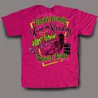 Sweet Thing Funny Barrel Racer Cowgirl Pink Girly Bright T-Shirt