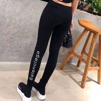 balenciaga women all match casual simple fashion letter embroidery tight thickened leg