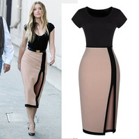 Womens Optical Illusion slimming Stretch bodycon Business Party Pencil Dress EO5 Z_G = 1956680324