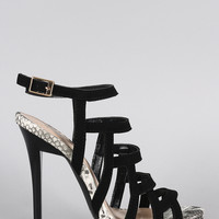 Qupid Strappy Snake Open Toe Stiletto Heel