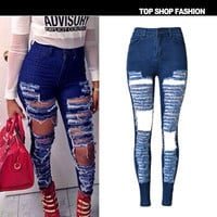 Summer Fashion Strong Character Ripped Holes High Waist Slim Stretch Plus Size Jeans [6365922948]