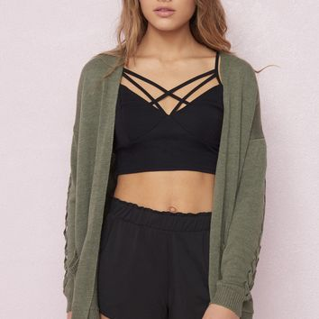 Cardigan With Lace-Up Sleeves
