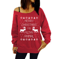 SIMPLE - Merry Christmas Oblique Sweater Top a12230