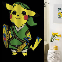 Pikachu Zelda shower curtain special custom shower curtains that will make your bathroom adorable